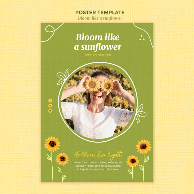 Vertical poster with sunflowers and woman Free Psd