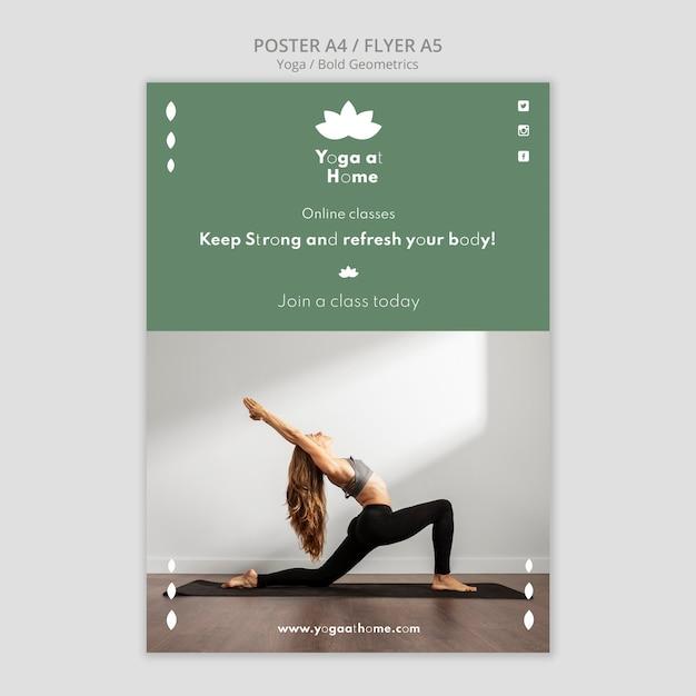 요가 연습하는 여자와 세로 포스터 무료 PSD 파일
