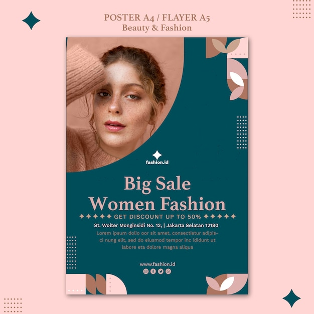 Vertical poster for women's beauty and fashion Free Psd