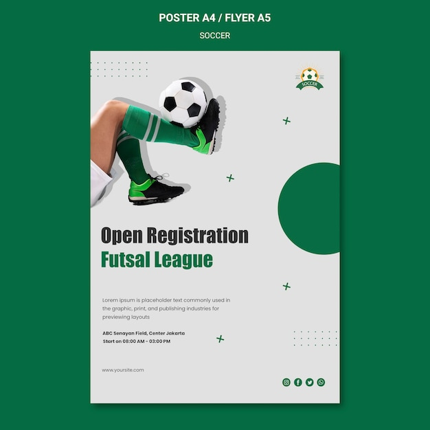 Vertical poster for women's football league Free Psd