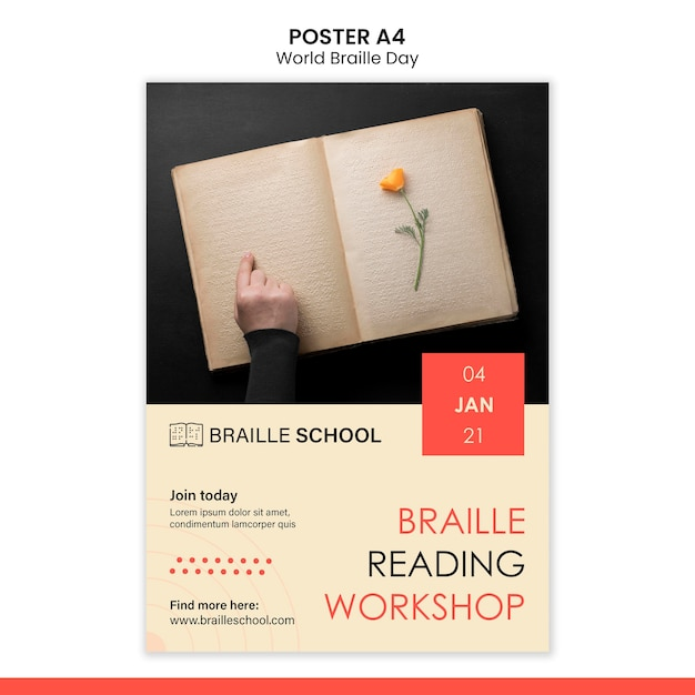 Vertical poster for world braille day Free Psd
