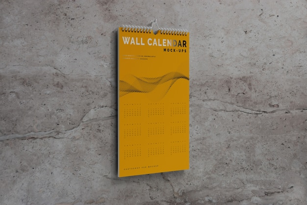 Vertical wall calendar mockup Free Psd