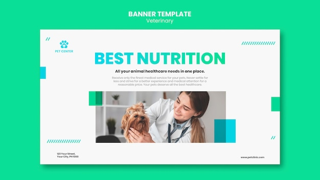 Veterinary ad banner template Free Psd