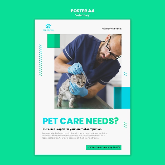 Veterinary ad flyer template Free Psd