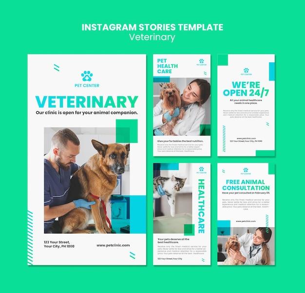 Veterinary ad instagram stories template Premium Psd
