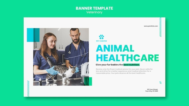 Veterinary ad template banner Free Psd