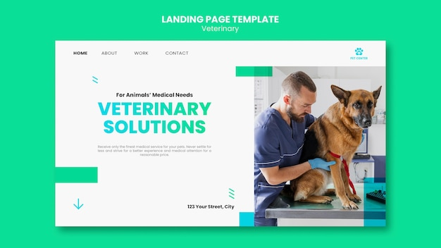Veterinary ad template landing page Premium Psd