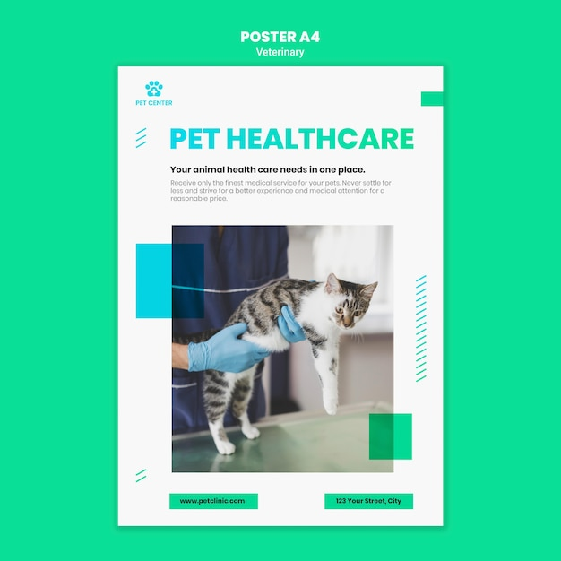 Veterinary ad template poster Free Psd