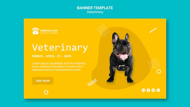 Veterinary banner template concept Free Psd