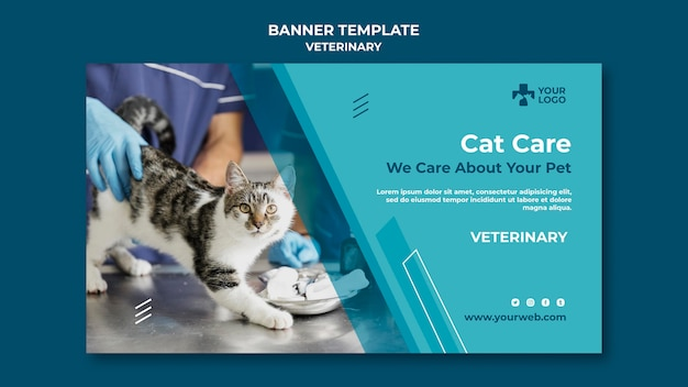 Veterinary clinic banner template Free Psd