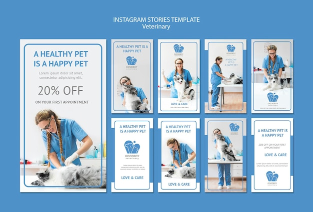 Veterinary clinic instagram stories template Free Psd