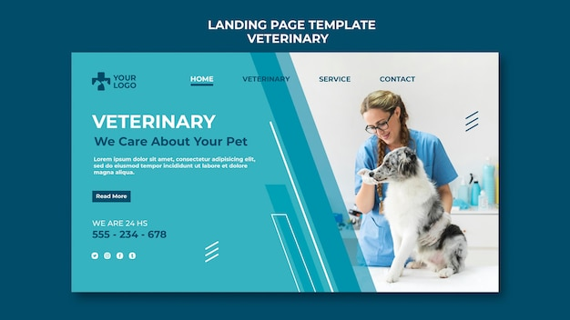 Шаблон целевой страницы ветеринарной клиники Бесплатные Psd