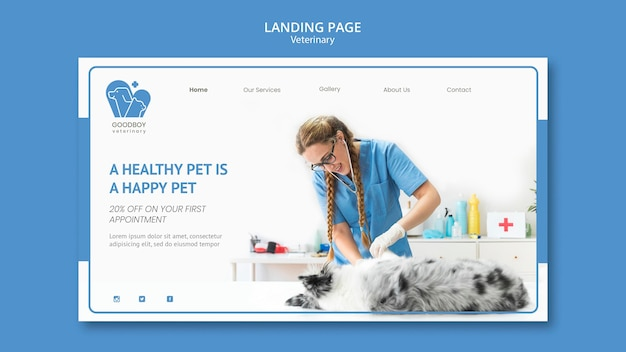 Veterinary clinic landing page template Premium Psd