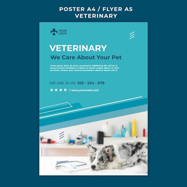 Шаблон плаката ветеринарной клиники Бесплатные Psd