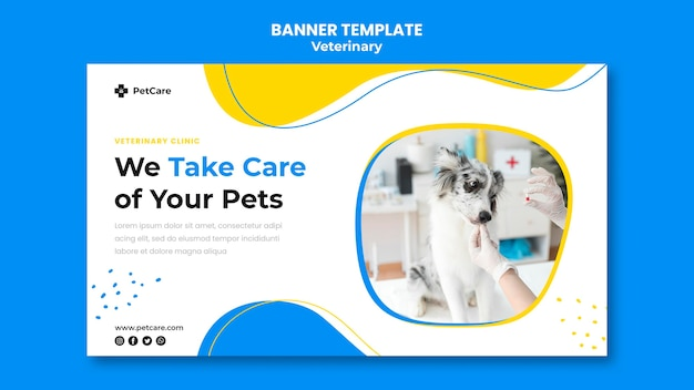 Veterinary clinic template banner Free Psd