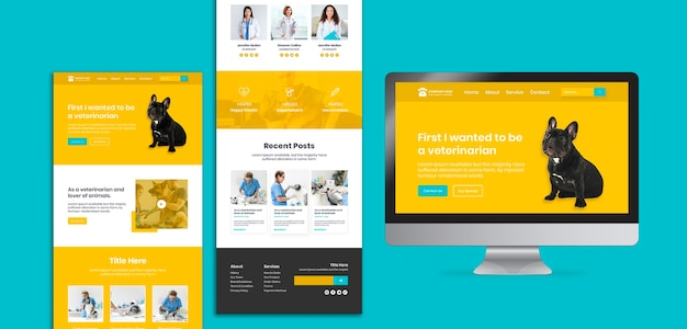 Veterinary landing pages concept Free Psd