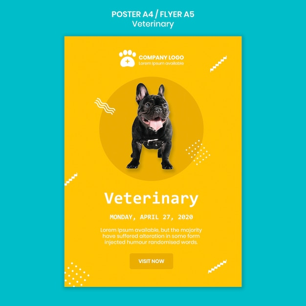 Veterinary square flyer template concept Free Psd