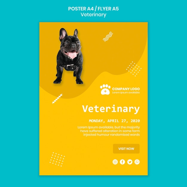 Veterinary template concept with dog Free Psd