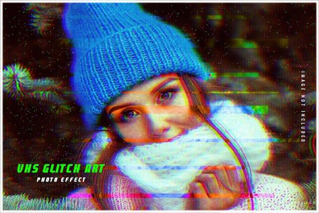Vhs 글리치 아트 사진 효과 템플릿 프리미엄 PSD 파일