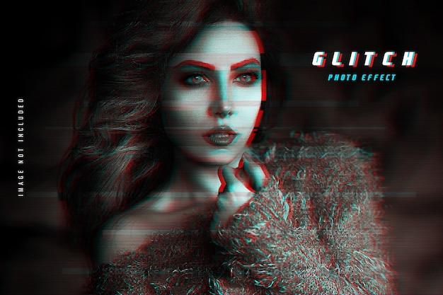 Vhs glitch photo effect Premium Psd