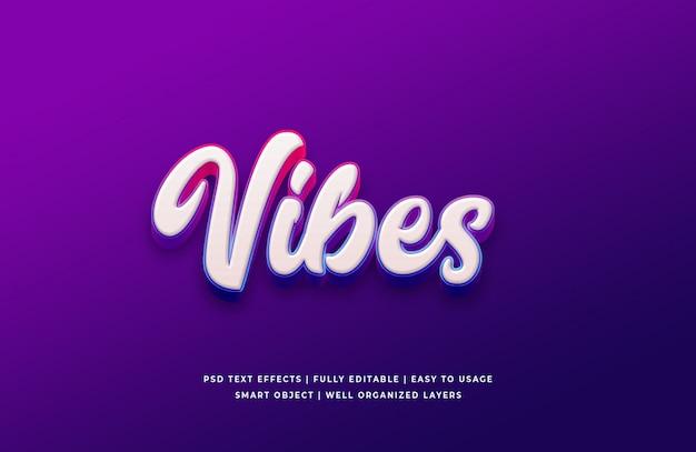 Vibes 3d стиль текста эффект премиум psd Premium Psd