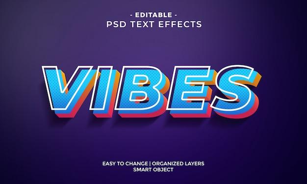 Современный красочный текстовый эффект vibes Premium Psd