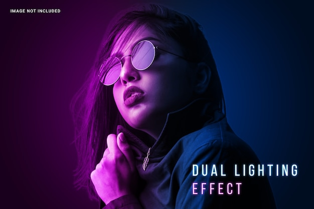 Vibrant dual lighting photo effect template Premium Psd