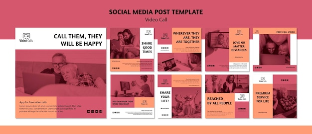 Video call social media post template Free Psd