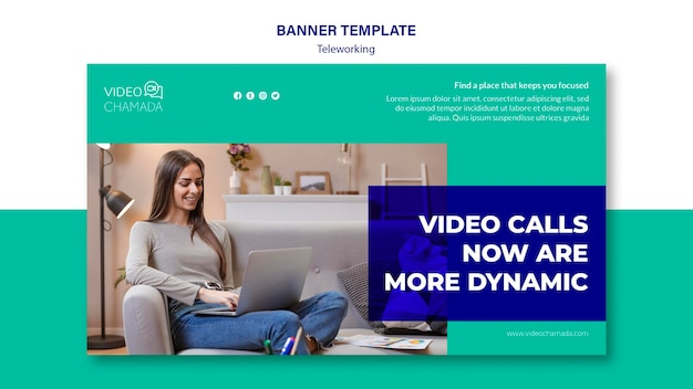 Video calls now are more dynamic banner template Free Psd