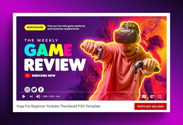 비디오 게임 리뷰 유튜브 채널 썸네일 및 웹 배너 프리미엄 PSD 파일