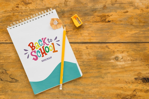 Above view back to school mock-up Free Psd