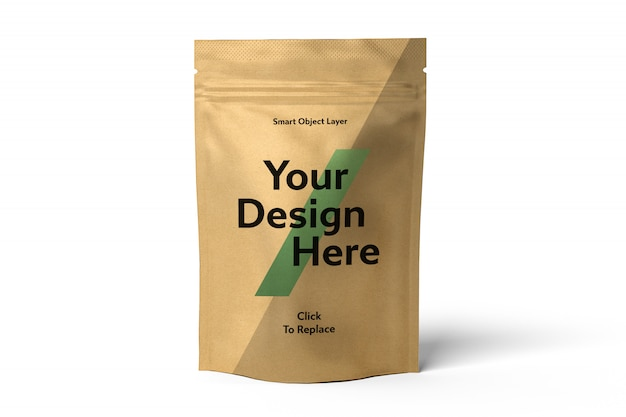 View of a craft foil bag mockup Premium Psd