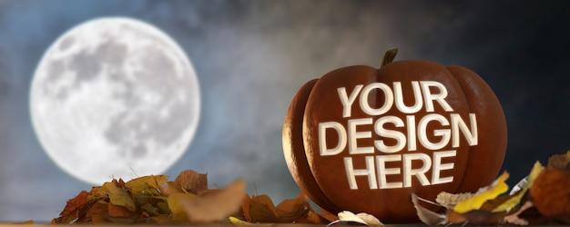 View of a halloween pumpkin mock up on a night scene Premium Psd