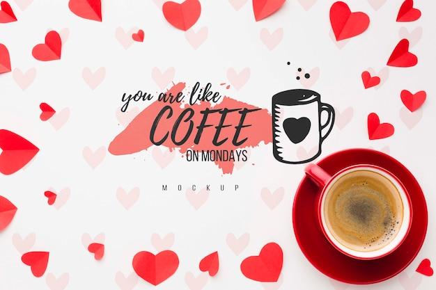 Sopra vista cuori e disposizione del caffè Psd Gratuite