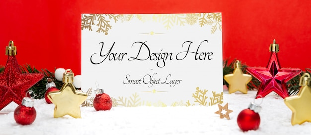 View of a holiday card and decorations mockup Premium Psd