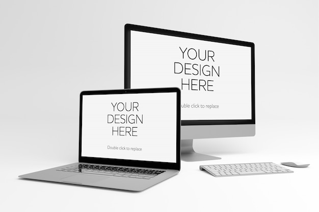 View of a laptop and pc mockup Premium Psd