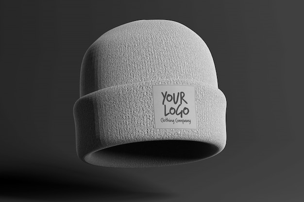 View of a mockup of a beanie with label Premium Psd