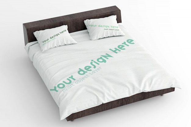View of a mockup of sheets and pillows on wooden bed frame Premium Psd