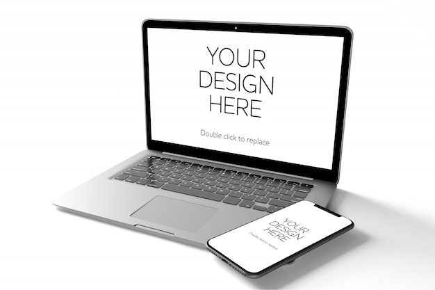 View of a mockup of smartphone, tablet, desktop computer, and laptop Premium Psd