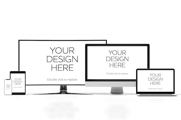 View of a mockup of smartphone, tablet, desktop computer and laptop Premium Psd