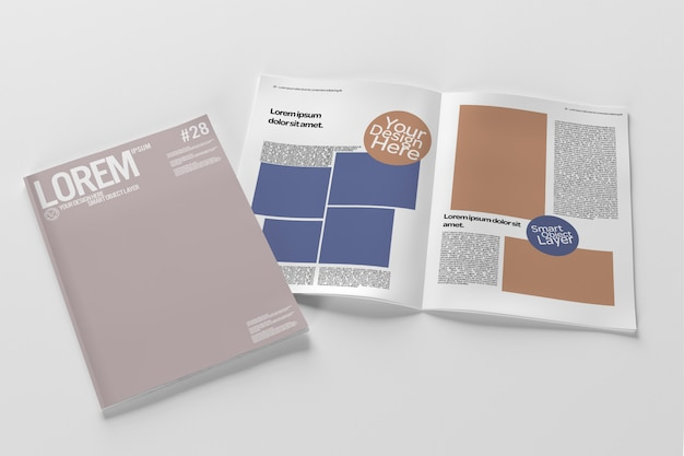 View of an open magazine and cover mockup Premium Psd
