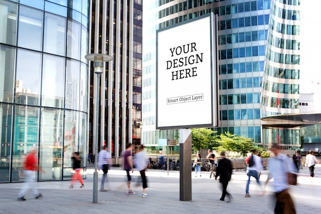 View of a outdoor advertisement mockup Premium Psd