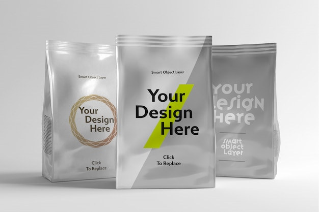 View of a sachet packet with tear-away tab mockup Premium Psd