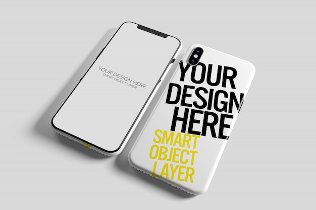 View of a smartphone case mockup Premium Psd