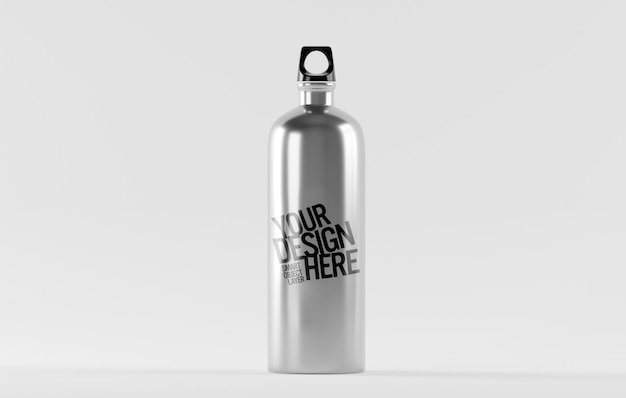 View of a stainless steel water bottle mockup Premium Psd