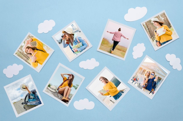 Above view travel concept with photos Premium Psd