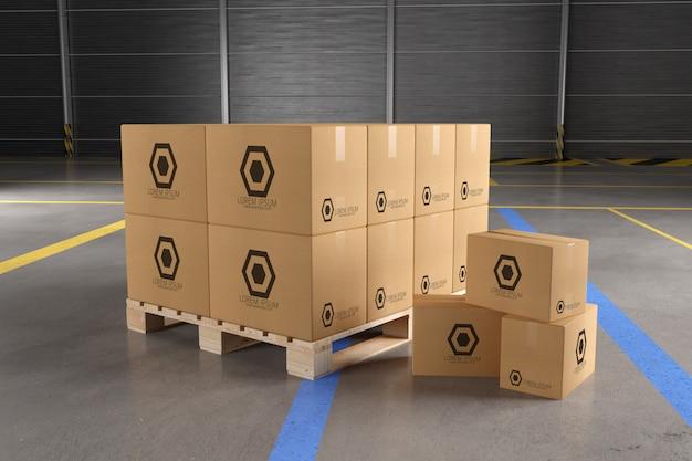 View of a warehouse cardboard box mockup Premium Psd