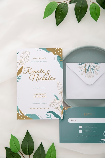 Above view wedding invitation with leaves Free Psd