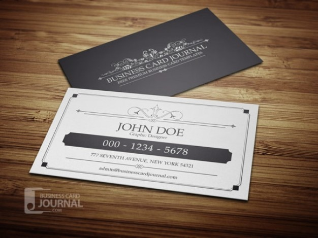 Vintage business card in black and white Free Psd