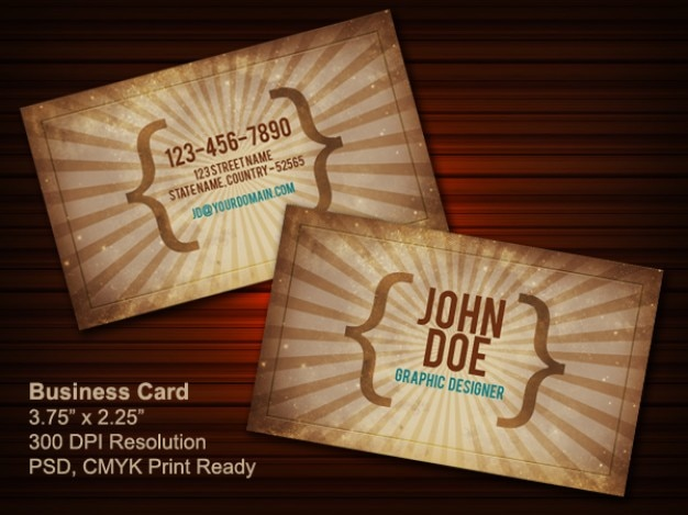 vintage business card psd  front & back Free Psd